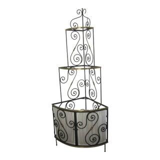 1940s French Art Deco Corner Baker's Rack in Metal With Milk Glass Shelves For Sale
