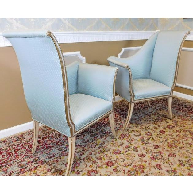 Mirrored French Louis 1950s Hallway Chairs - Pair - Image 4 of 9
