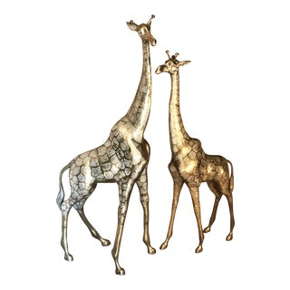 1970s Solid Brass Mid-Century Modern Giraffes - a Pair For Sale