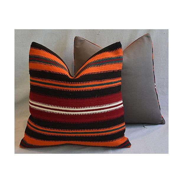 """20"""" Custom Tailored Anatolian Turkish Kilim Wool Feather/Down Pillows - a Pair - Image 8 of 11"""