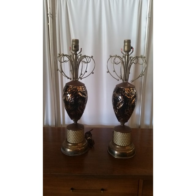 Mid-Century Abstract Lamps - a Pair - Image 2 of 6