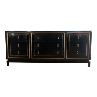 American of Martinsville Black Lacquered Gilt Dresser For Sale