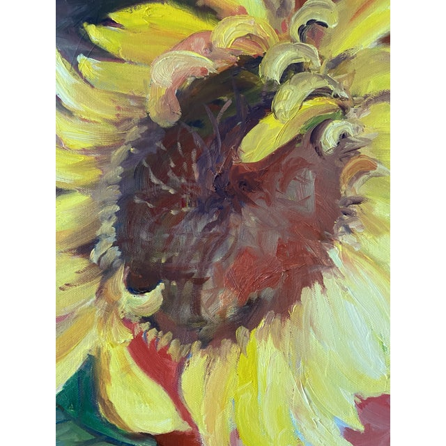 Contemporary Contemporary Sunflower Still Life Oil Painting by Marina Movshina For Sale - Image 3 of 6