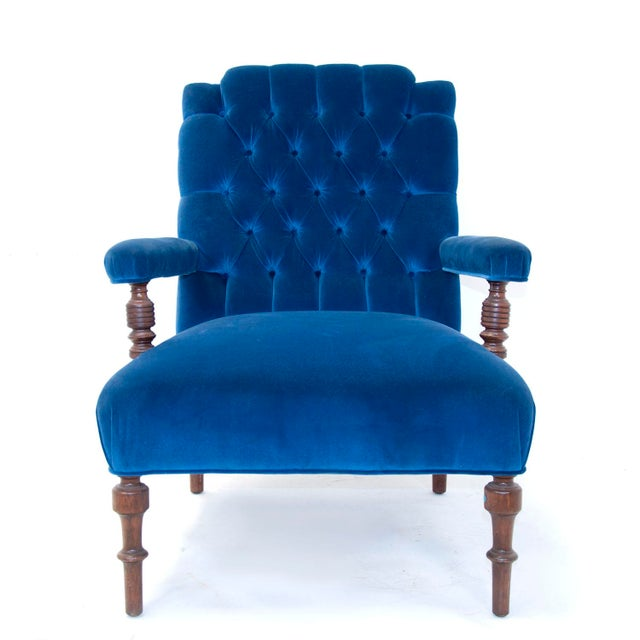 Edwardian English Arm Chair and Foot Stool For Sale - Image 4 of 12