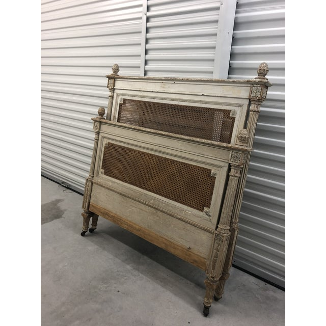 Antique French Cane Twin Headboard and Footboard - 2 Pieces For Sale - Image 4 of 10