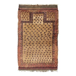 Early 20th Century Antique Afghan Beluch Prayer Rug - 2′6″ × 4′3″ For Sale