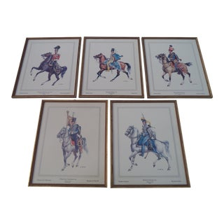Mid Century European Equestrian Horse Prints - Set of 5 For Sale