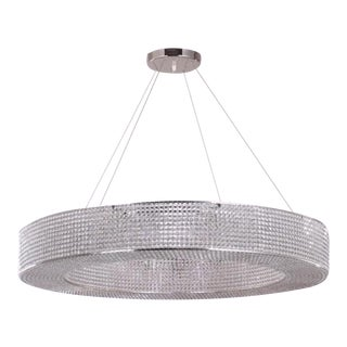 """Polished Nickel and Crystal Round Pendant Ring Light """"Cornice"""" For Sale"""