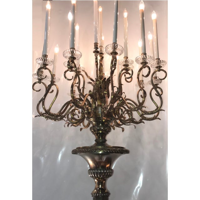 Antique Bronze Palace Chandelier Floor Lamps - A Pair - Image 4 of 10
