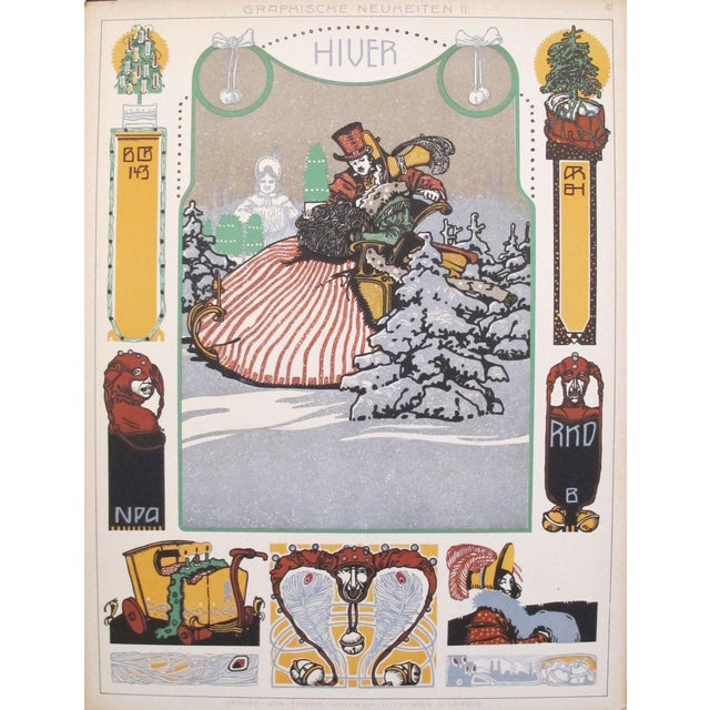 Art Nouveau Vintage German Decorator Sheets Circa 1900s For Sale - Image 3 of 4