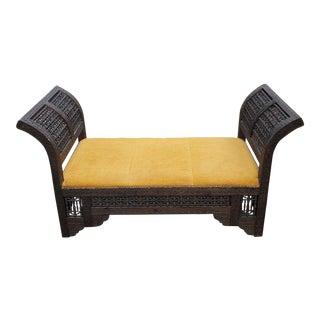 Moroccan Contemporary Cedar Wood Bench For Sale