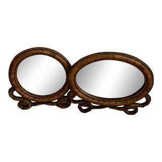 Bamboo Frame Wall Mirrors - a Pair For Sale