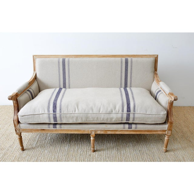 French French Louis XVI Style Bleached Oak Settee Loveseat For Sale - Image 3 of 13