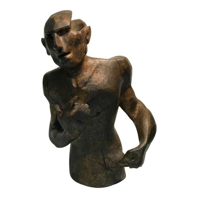 Dramatic Sycamore Wood Sculpture of a Man's Figure For Sale
