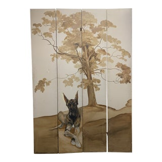 Vintage Tall Handpainted Two-Sided Canvas Room Dividers, 4 Pieces For Sale