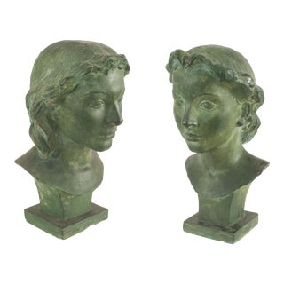 2 French Art Deco Green Patina Plaster Busts For Sale