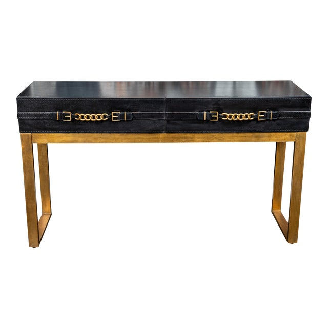 Vintage Leather and Metal Console Table For Sale