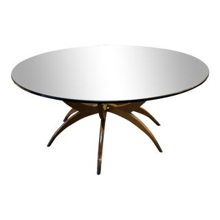 Mid-Century Danish Modern Wooden Coffee Table With Smoked Glass Top For Sale