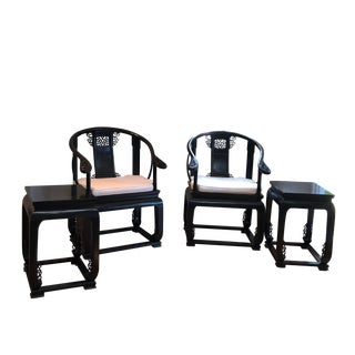 Chinese Ming Horseshoe Chairs & Side Tables - Set of 4 For Sale