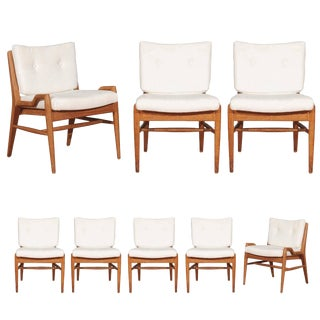 Chic Restored Set of Eight Cerused Mahogany Dining Chairs by John Keal For Sale