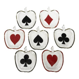 1950s Vintage Playing Cards Suits Glass Trays - Set of 7 For Sale