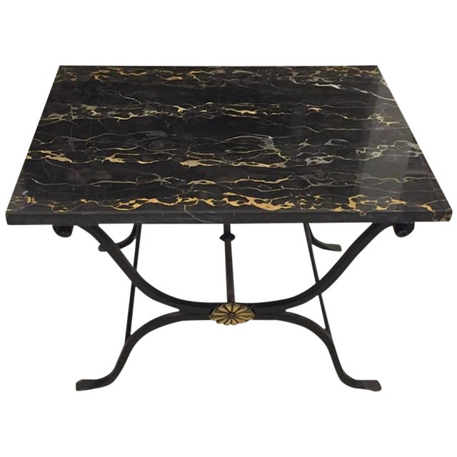 French Art Deco Wrought Iron and Portoro Marble Table For Sale