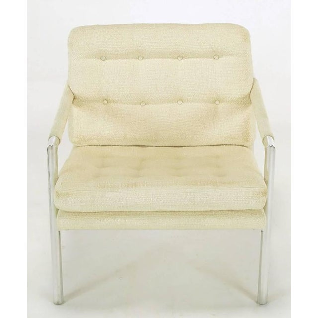 Pair of Polished Aluminum & Linen Lounge Chairs in the Manner of Harvey Probber - Image 5 of 9