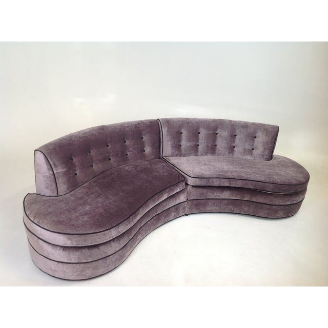 Mid-Century Regency Style Purple Velvet Sectional - Image 2 of 6