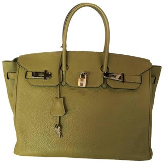 Hermes Birkin 35 Sauge Clemence Hand Bag, 2007 For Sale