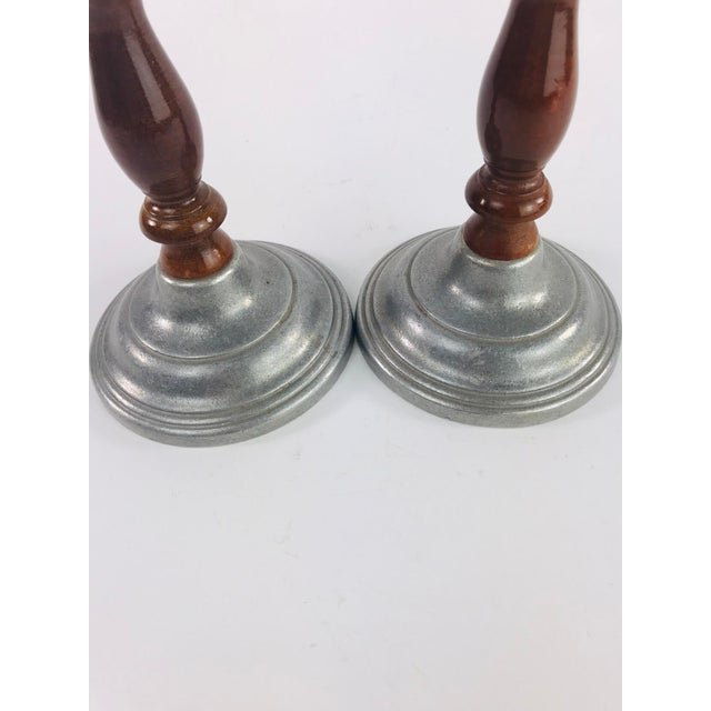 Metal Vintage Mid Century Wood and Pewter Candlesticks- A Pair For Sale - Image 7 of 9