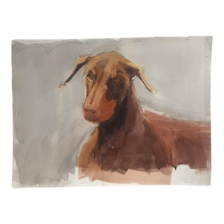 Original Doberman Dog Watercolor Painting