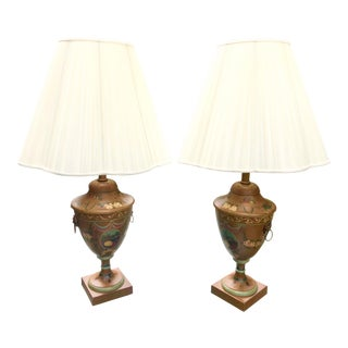 English Regency Style Tole Lamps With Lion's Head Detail - A Pair For Sale