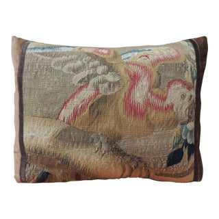 19th Century French Aubusson Tapestry Bird Decorative Pillow For Sale