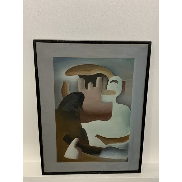 """Fabulous 1930s Surrealist painting from William Gamble exhibited in Seattle in 1939. Titled """"Primitive in Eclipse"""" from a..."""