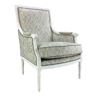 Currey & Co. Gray and White Boxwell Chair For Sale