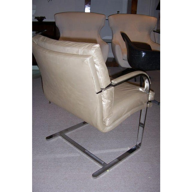 A Heavy Steel Brueton Chair in Leather - Image 3 of 5