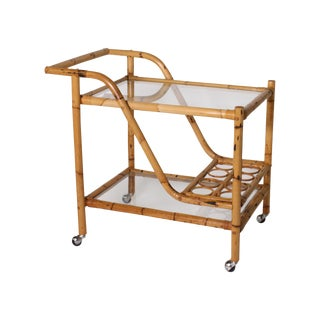 1970s Vintage Bamboo Bar Cart For Sale