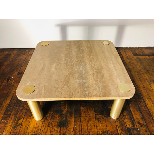 1970s Mid-Century Modern Karl Springer Travertine & Brass Coffee Table For Sale In Boston - Image 6 of 7