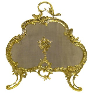19th Century French Brass Fire Screen in the Rococo Style For Sale