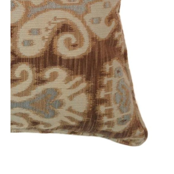 Taupe, Brown & Aqua Ikat Pillows - A Pair - Image 2 of 2
