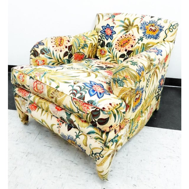 Last Call! Gorgeous chair with long, languid lines and a wonderfully colorful yet elegant Jacobean textile. I very much...