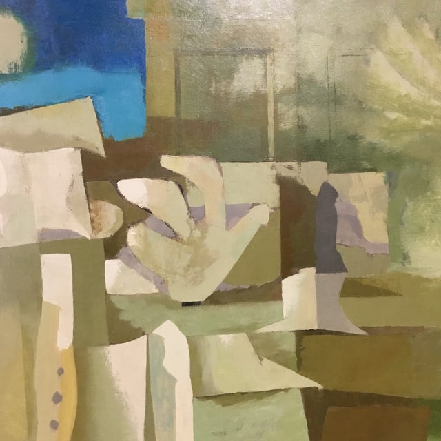 Mid-Century Green & Tan Cubist Oil Painting - Image 5 of 9