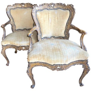 Incredible Museum Quality Pair of Lacquer and Giltwood Carved French Armchairs For Sale