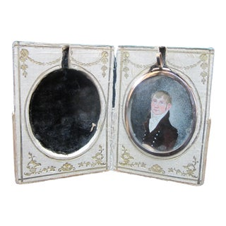 18th Century Miniature Portrait Painting of Young Man in Carrying Case For Sale