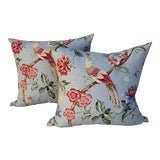 Image of Scalamandre Floral & Bird Chinoiserie Pillows - a Pair For Sale