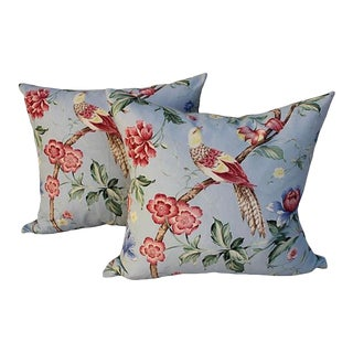 Scalamandre Floral & Bird Chinoiserie Pillows - a Pair For Sale