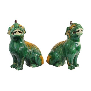 Pair of Famille Verte Foo Dogs For Sale