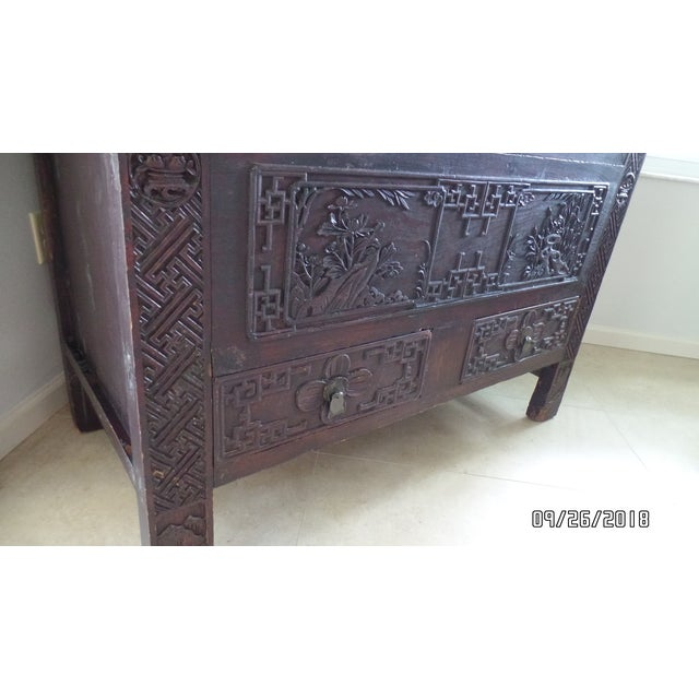 Brass Antique Chinese Wardrobe- Wedding Chest For Sale - Image 7 of 13