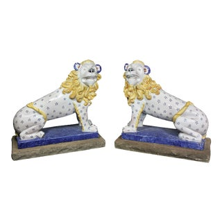 Early 20th Century French Glazed Pottery Lions - a Pair For Sale