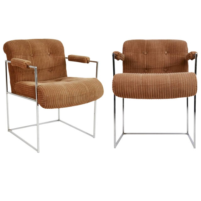 1970s Milo Baughman for Thayer Coggin Dining Armchairs - a Pair For Sale